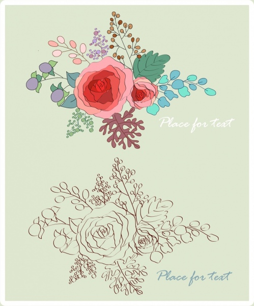 Rose Flowers Sketch Colorful Design Free Vector In Adobe