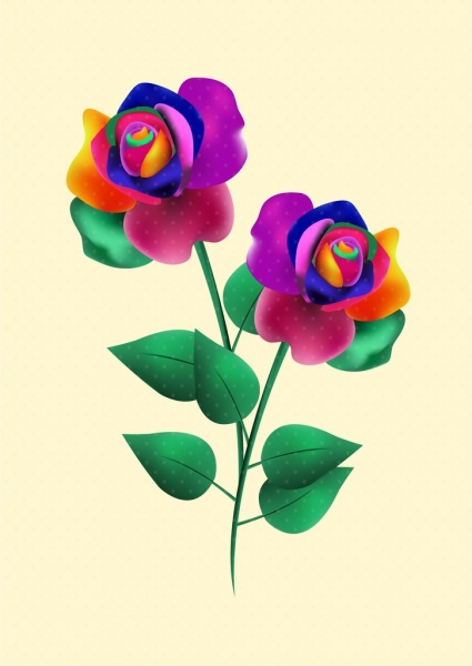 rose icon 3d colorful decoration