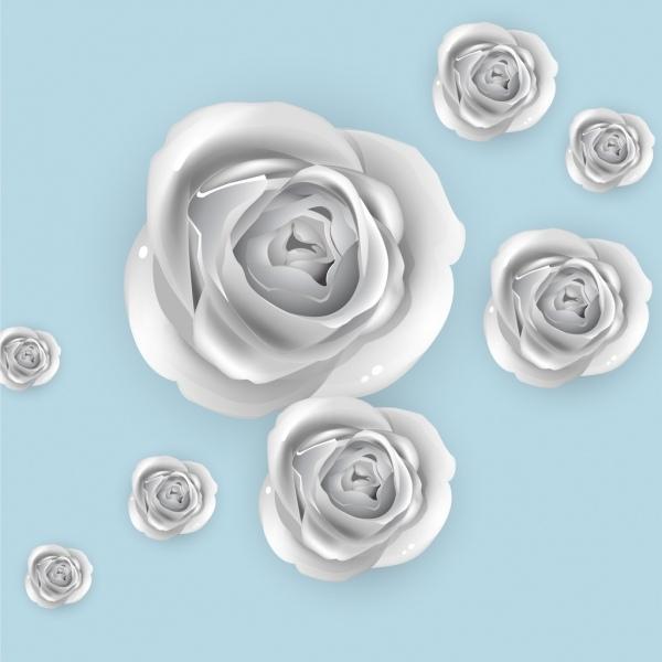 Roses Background 3d Silver Design