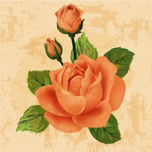 roses background colored retro style