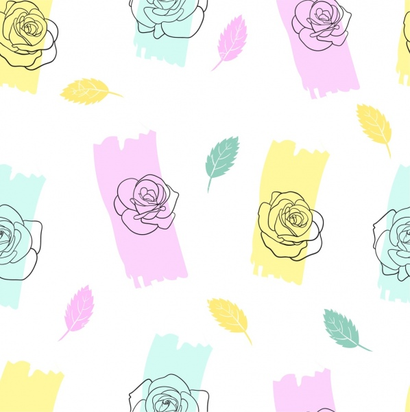 roses leaves background colorful handdrawn sketch