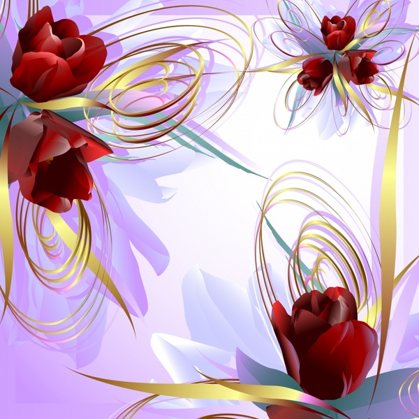 roses background modern colorful dynamic decor
