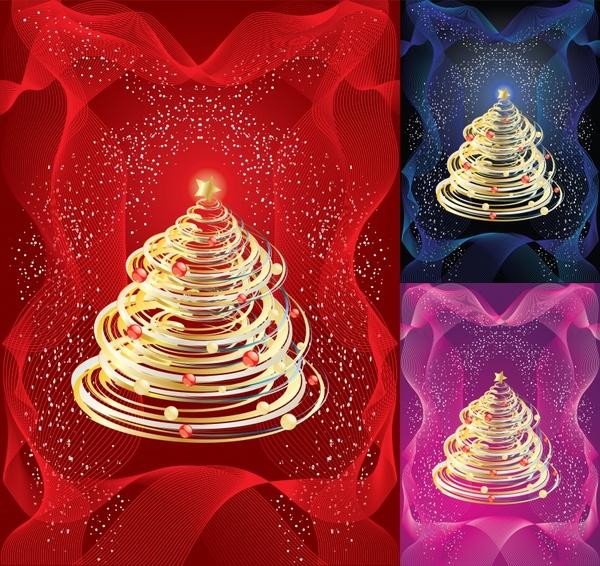 christmas background fir tree icons sparkling dynamic decor