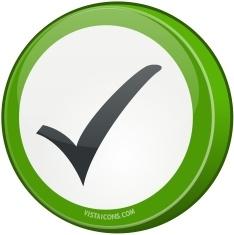 Round green tick sign