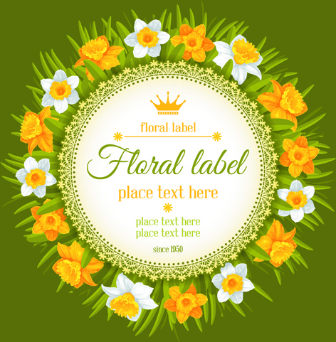 round label with beautiful flower background vector