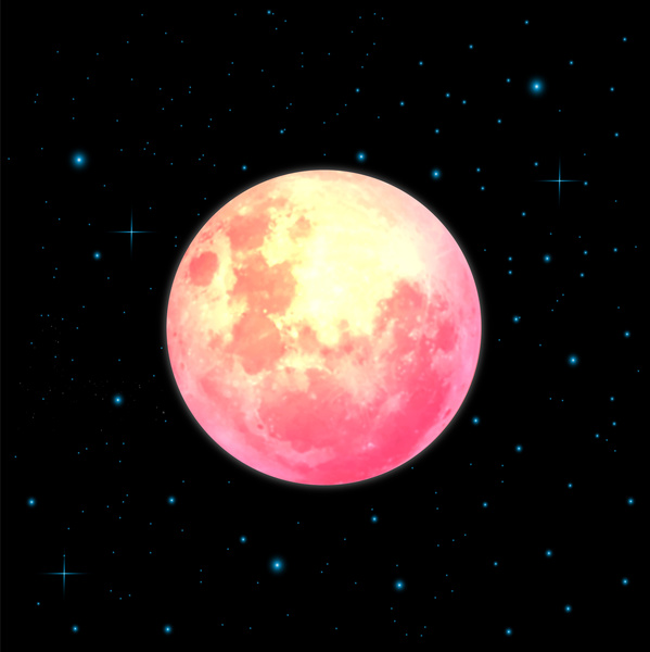 round moon in space vector illustration