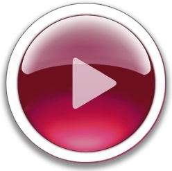 Round red play button