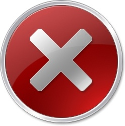 Round red X sign