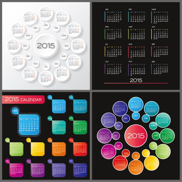 round with gird15 calendars vector design