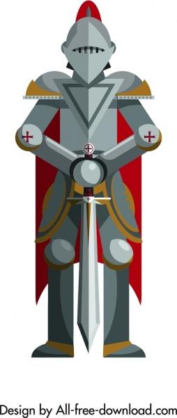 royal knight icon vintage iron armor symmetrical decor