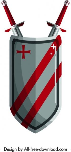 royal logo sword shield icon shiny colored design