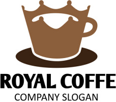 royal with coffe logo vector