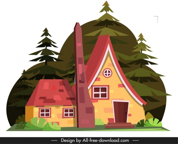 rural house icon classical tile roof decor