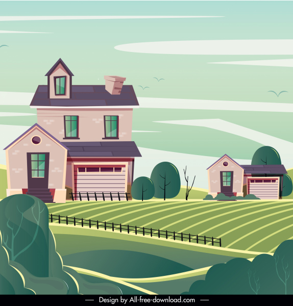 rural landscape background field houses sketch classic design
