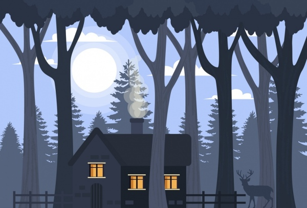 rural landscape drawing cottage trees moon icons