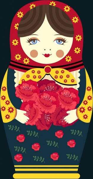 russian doll icon closeup design traditional costume
