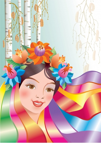 beauty painting colorful decor ethnic girl icon