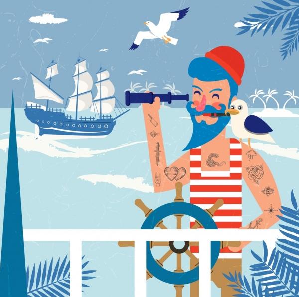 sailor job background tattoo man ship sea icons