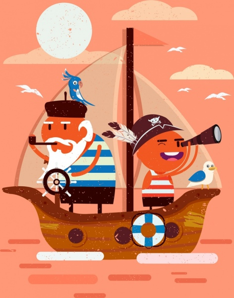 sailor job drawing funny cartoon characters
