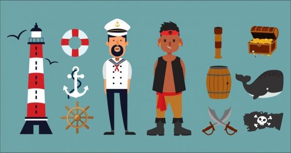 sailor pirate jobs design elements colored cartoon icons