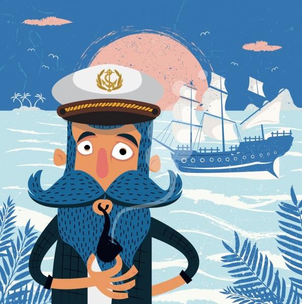 sailor work background moustache man ship icons