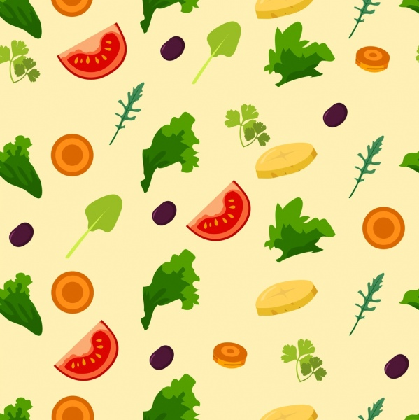salad background various colored vegetables icons repeating design