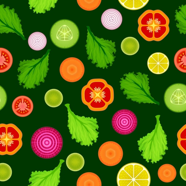 salad background various sliced types flat repeating decor