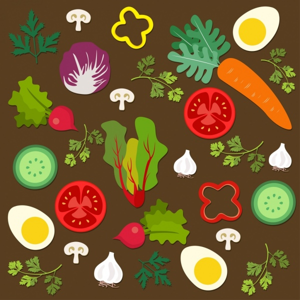 salad cuisine design elements various multicolored flat icons