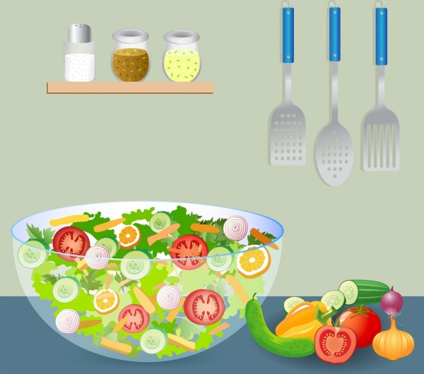 salad cuisine drawing vegetables kitchenware icons multicolored design