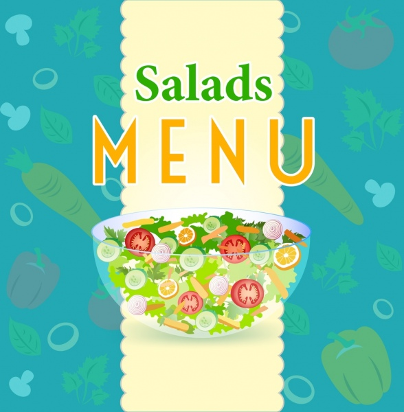 salad menu cover template vegetables bowl icons
