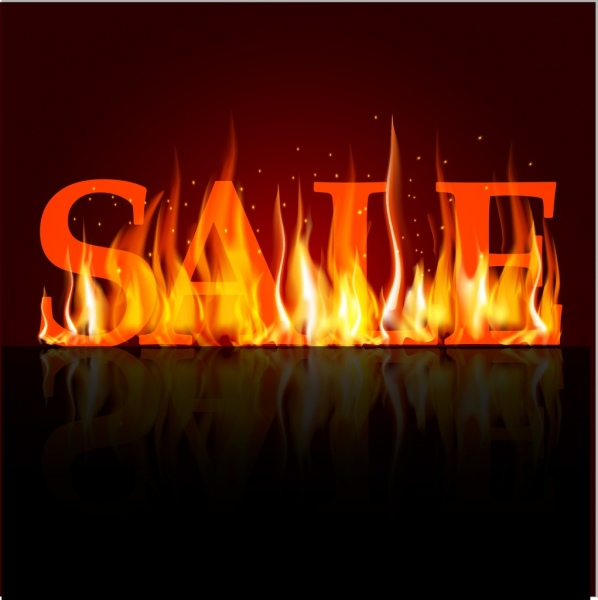 sale banner 3d red text extreme fire icon
