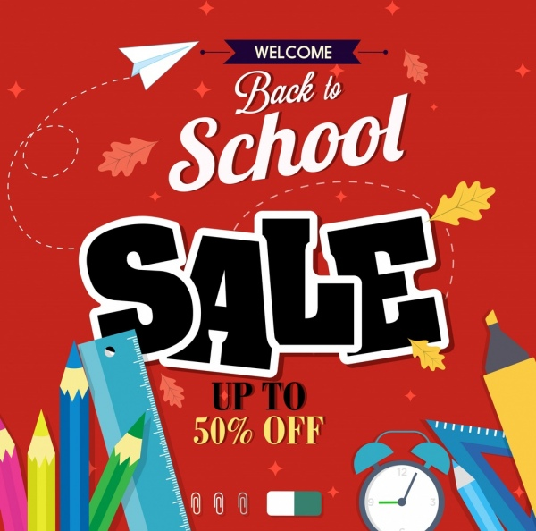 sale banner learning tool icon back to school