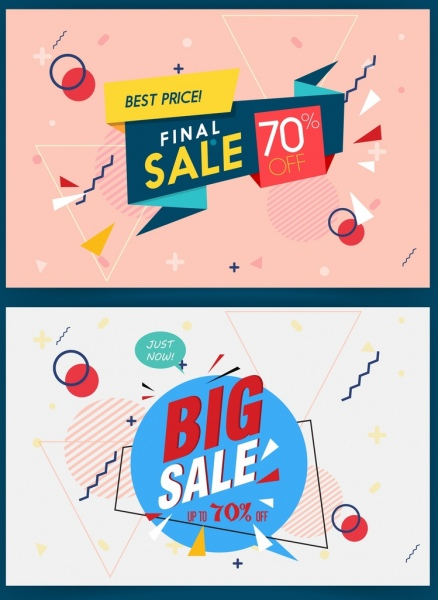 sale banner sets 3d origami geometric decoration