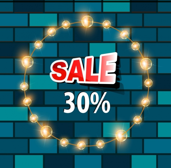 sale banner sparkling circle lights brick wall backdrop