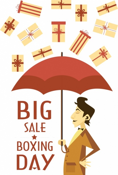 sale banner template man umbrella falling gifts icons