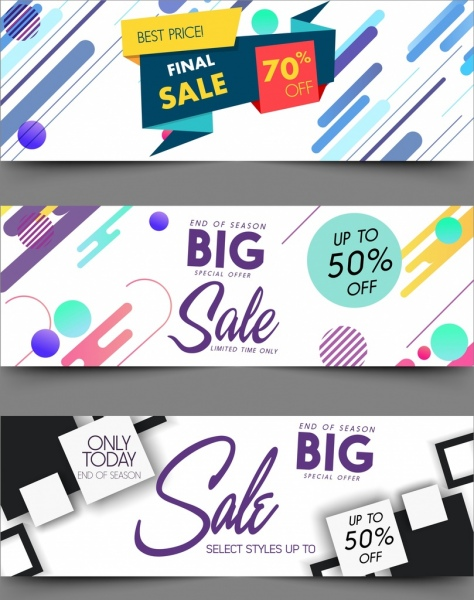 sale banner templates 3d origami colorful decor