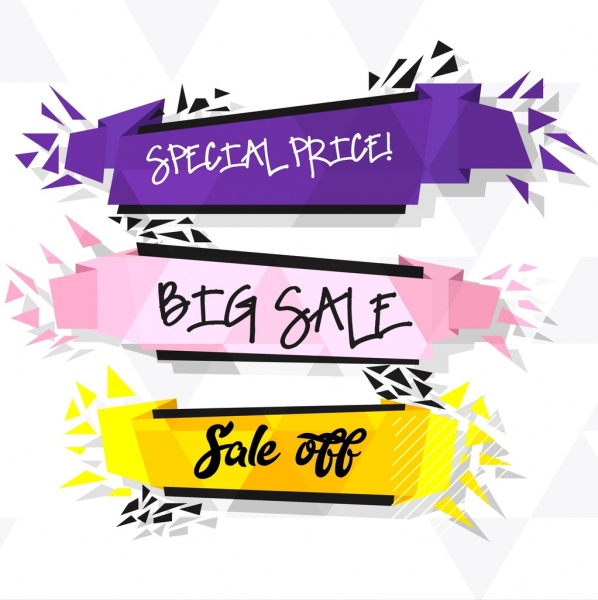 sale banner templates 3d violet purple yellow ribbons