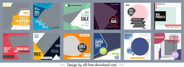 sale banner templates colorful modern abstract checkered decor