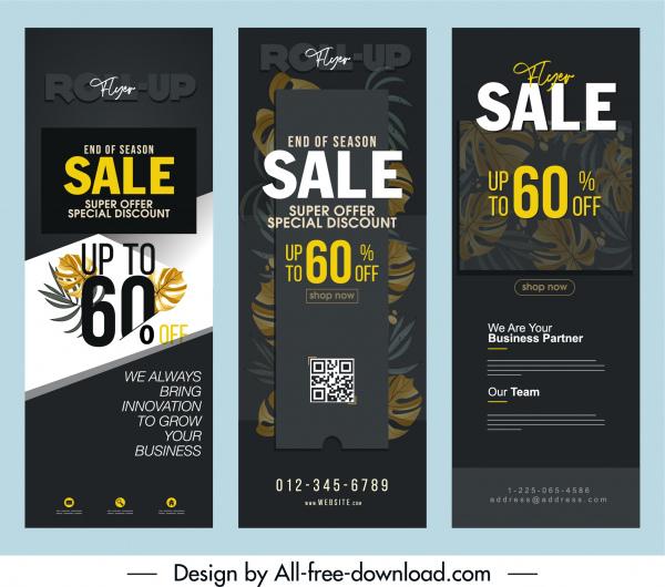 sale banner templates vertical dark design leaf decor
