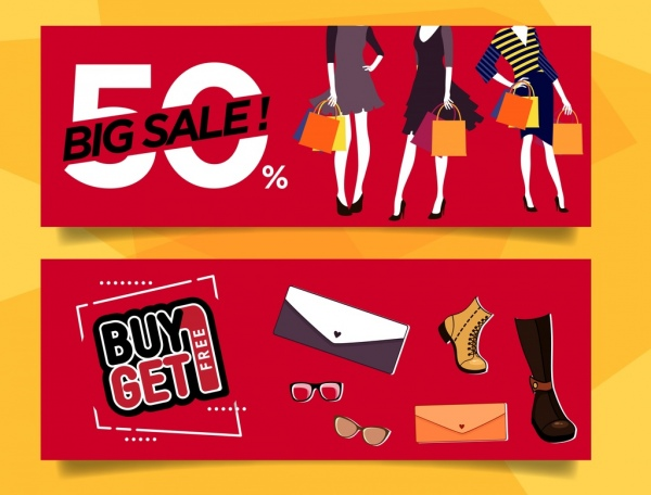 sale banner templates woman fashion accessories icons