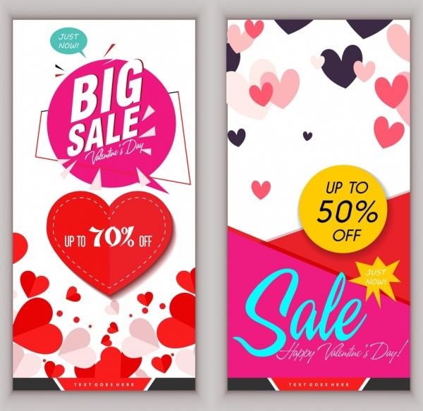 sale banner valentine theme hearts texts decoration