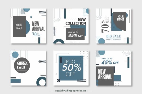 sale flyer templates contrasted geometric decor