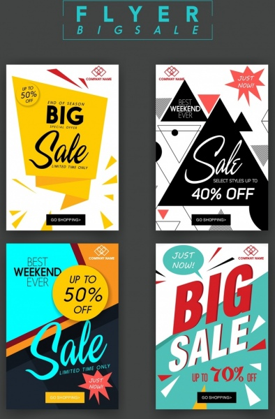 sale flyer templates modern geometric origami decor free vector in