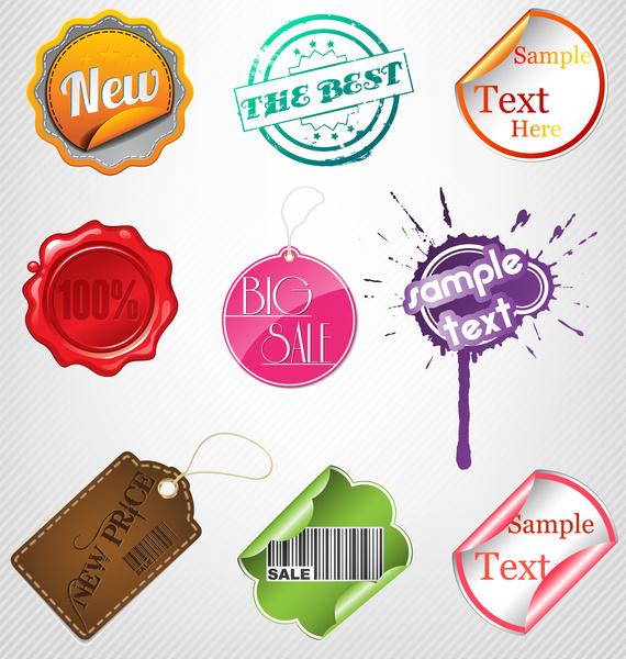 Sale label badge sticker tag set Free vector in Adobe