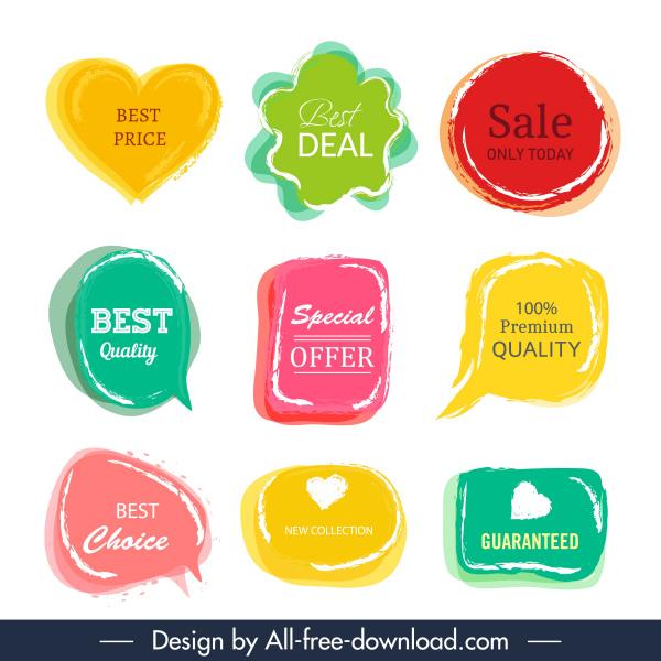 sale label templates colorful retro flat shapes