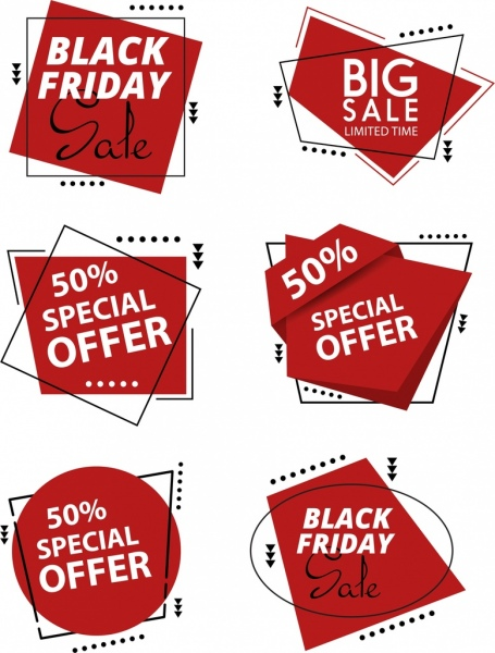 sale labels collection red geometric texts decoration
