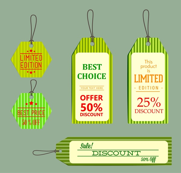 sale labels collection stripes background in various shapes