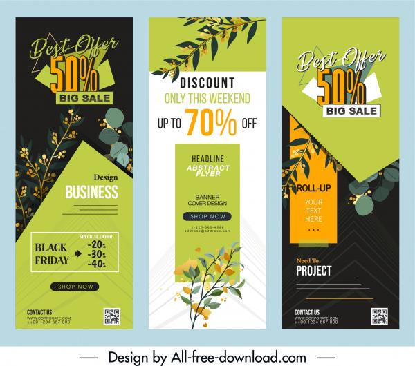 sale poster templates plants decor colorful vertical design