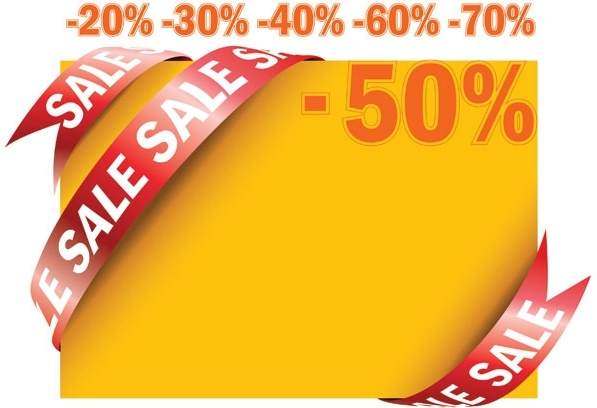 sale ribbon card vector