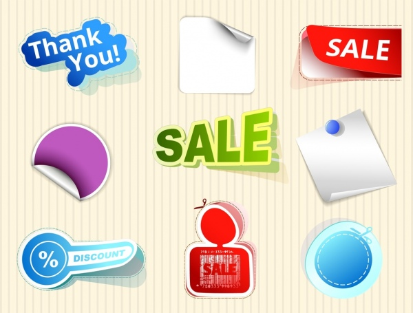 sale sticker collection various 3d colored shapes isolation free